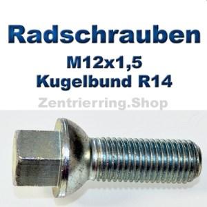 Radschrauben M12x1,5 mit Kugelbund R14