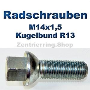 Radschrauben M14x1,5 mit Kugelbund R13