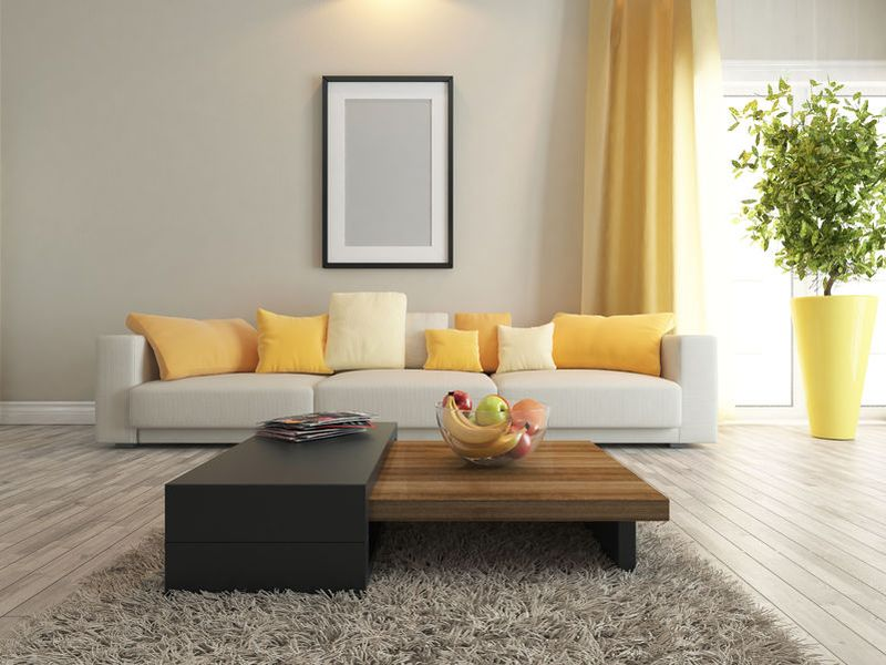 47615950 - modern interior design with carpet and stand