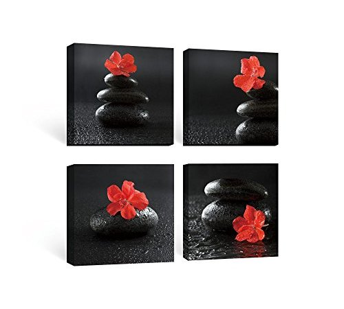 SUMGAR Framed Wall Art for Bathroom of Red Black Flowers and Spa Zen ...