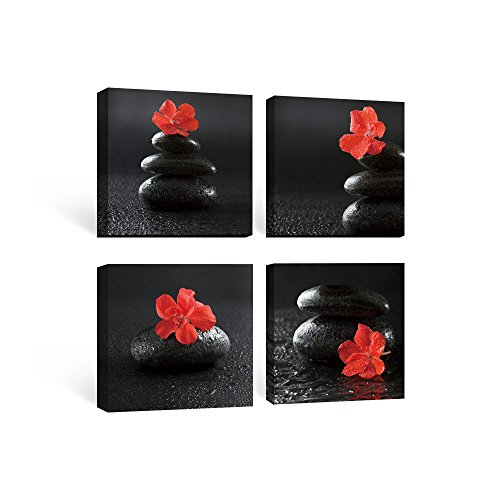 SUMGAR Framed Wall Art For Bathroom Of Red Black Flowers And Spa Zen Stones  Paintings On Canvas