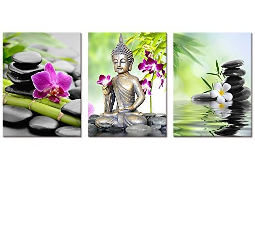 Buddha Canvas Wall Art,Spa Zen Stone Canvas Print,Orchid Flower Home ...