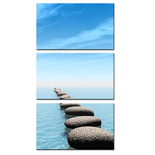 Kreative Arts U2013 Zen Stone Canvas Wall Art Seascape Picture Prints Vertical  Triptych Stretched On Wood Frame For Home And Office Decor Wall Hanging ...