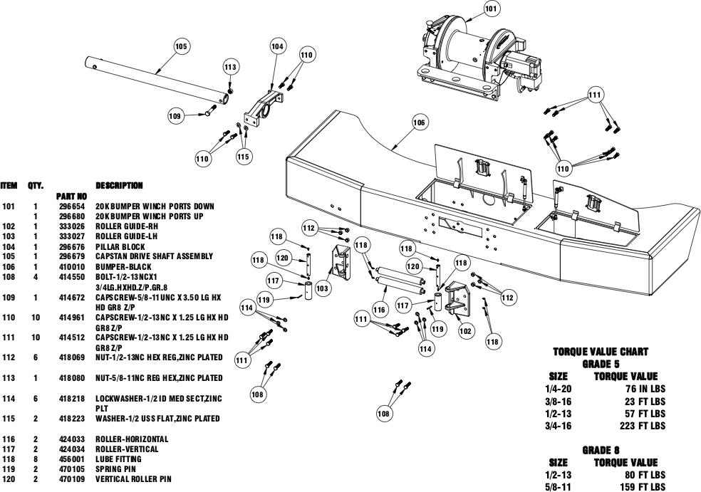Ramsey Winch POWERMASTER 20000 Bumper Parts