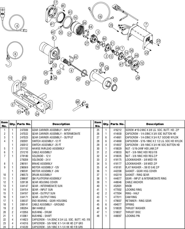 Ramsey Winch QM 9000 Parts