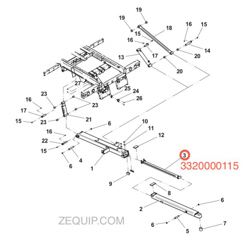 1001166858 JERR-DAN CYLINDER ASSEMBLY 2.50/1.50 x 56.6