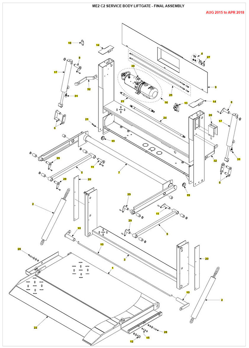 hight resolution of me2 service body liftgate parts diagram