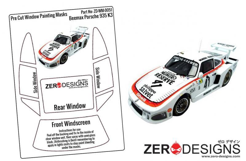 1:24 Porsche Kremer 935 K3 Pre Cut Window Painting Masks