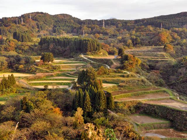 秋の田舎の紅葉風景