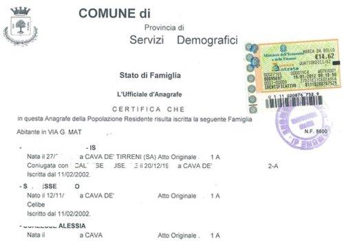 Certificato Stato Di Famiglia Storico Autocertificazione