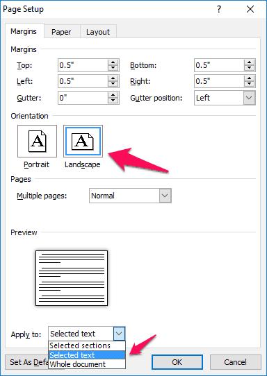 change orientation of