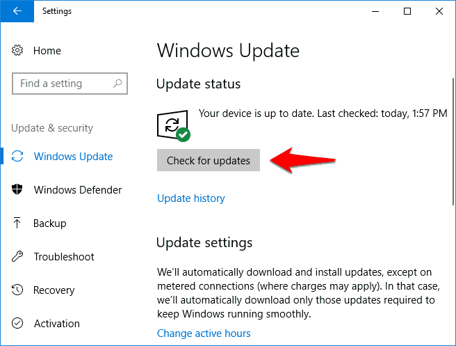 check for updates windows 10