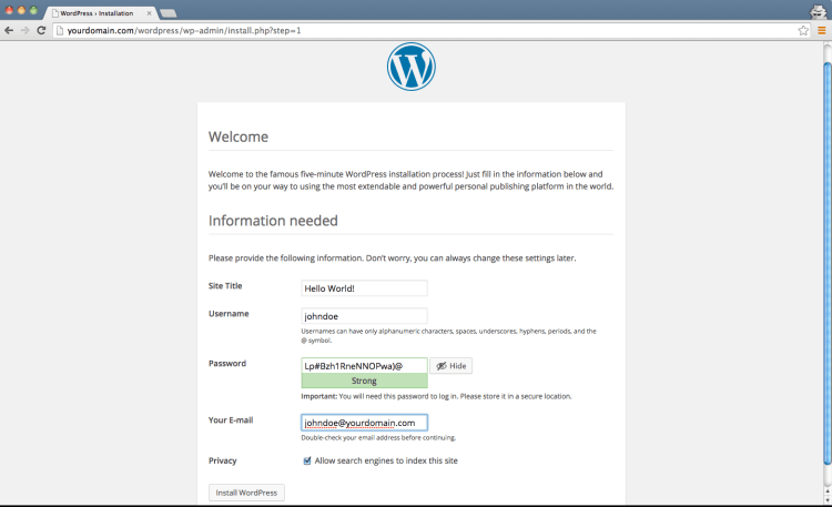 Wordpress Install - Title and Admin -Step 3
