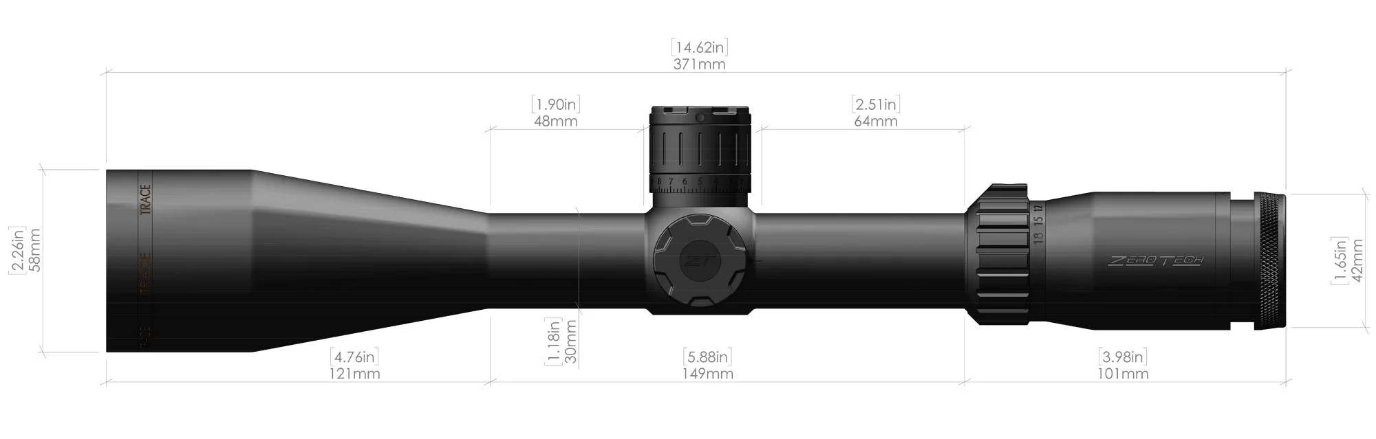 3-18X50mm-Trace-Riflescope-Dimensions