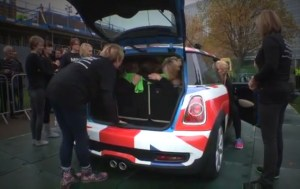 28 Women Stuff into a Mini Cooper to set a Guinness World Record