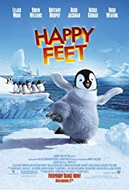 Animated movie poster of Happy Feet, telling the story of penguins