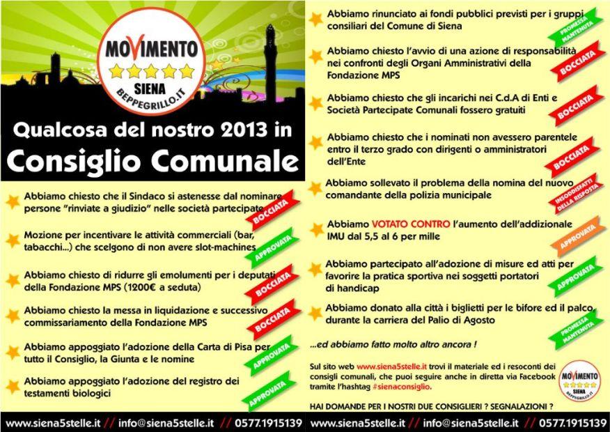 Siena 5 Stelle - 2013 in consiglio comunale
