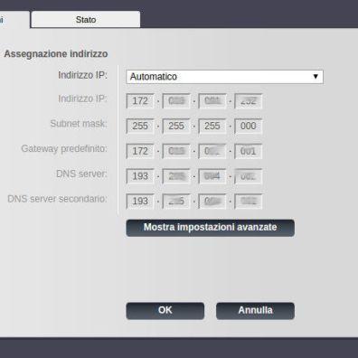 Schermata impostazioni di rete