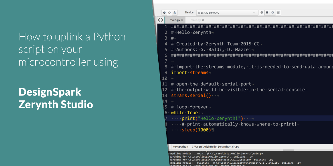 how to upload a Python script DesignSpark Zerynth Studio