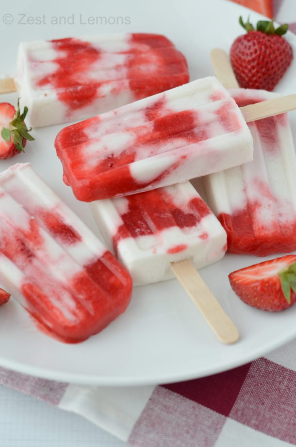 Strawberry Coconut Popsicles