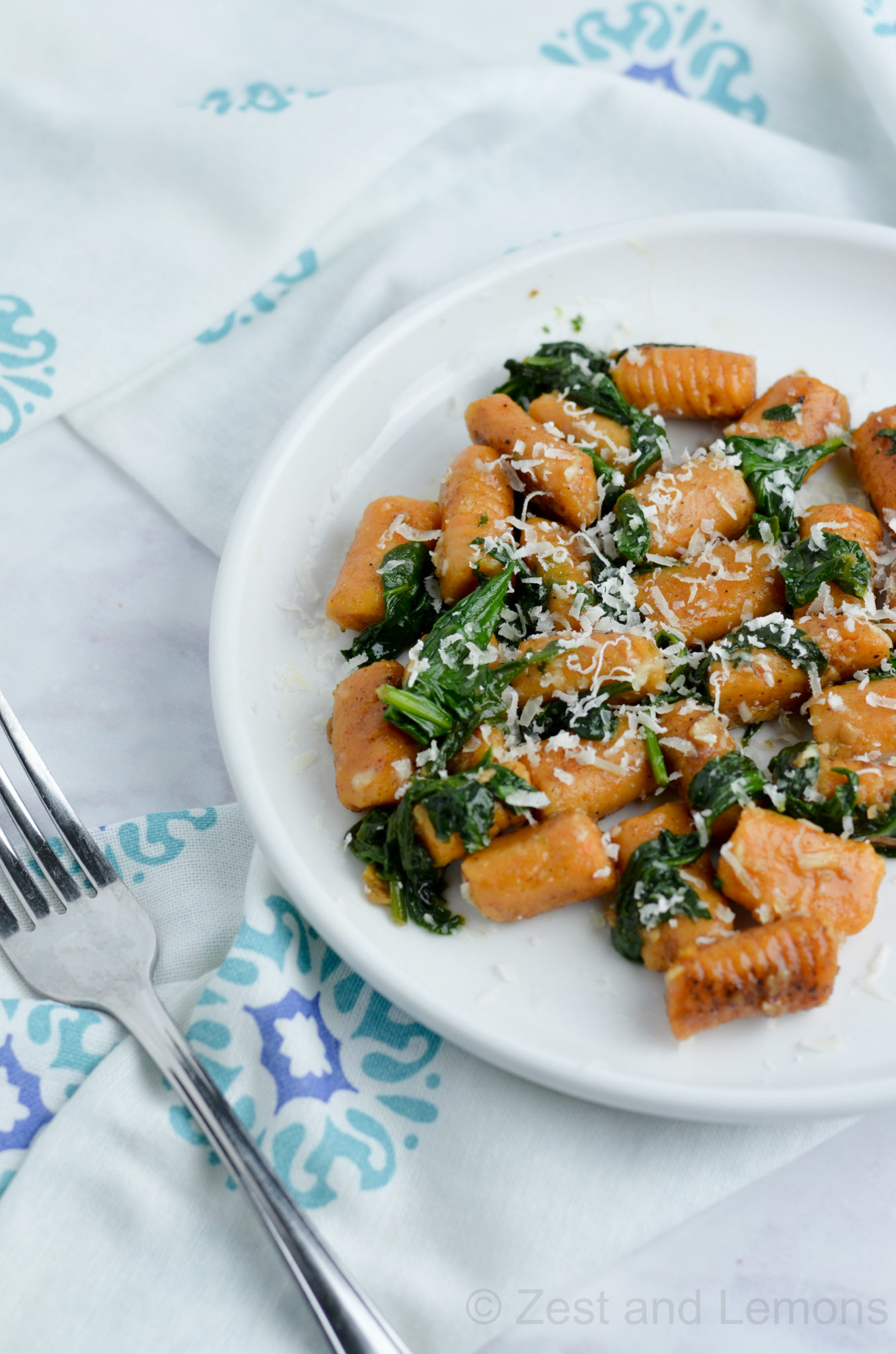 Sweet Potato Gnocchi with Spinach and Garlic Butter Sauce