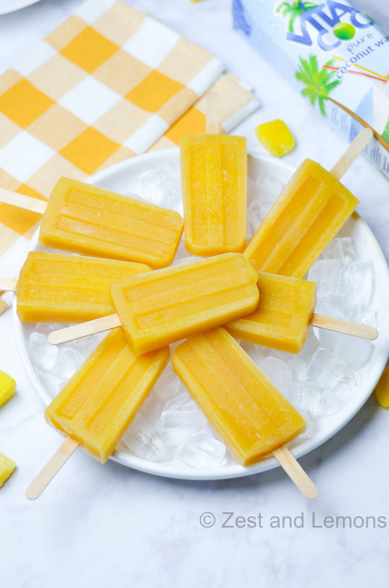 Mango Orange Popsicles with Coconut Water