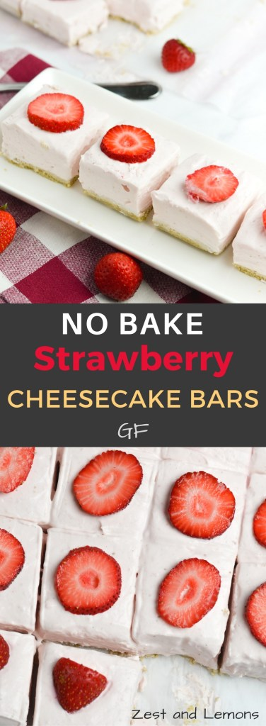 No bake strawberry cheesecake bars - Zest and Lemons