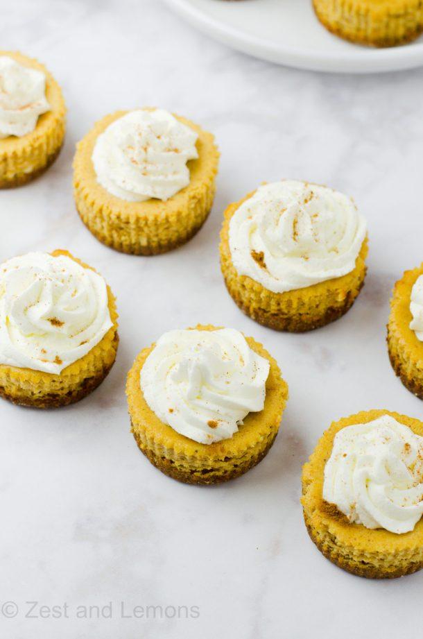 Mini pumpkin ricotta cheesecakes