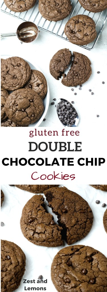 Gluten free double chocolate chip cookies. Soft, thick, and super chocolatey! - Zest and Lemons #glutenfree #holidaycookies #chocolatecookies