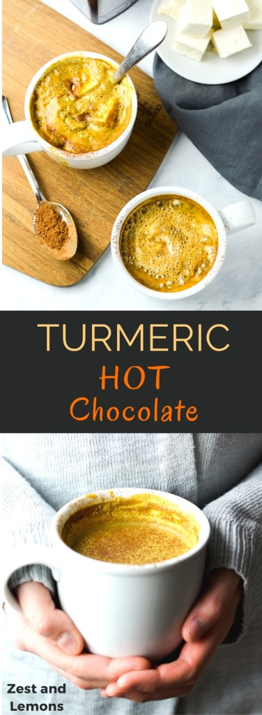 Turmeric hot chocolate, full of antioxidant-rich warming spices and perfect for a cold winter day! - Zest and Lemons #glutenfree #dairyfree #hotchocolate