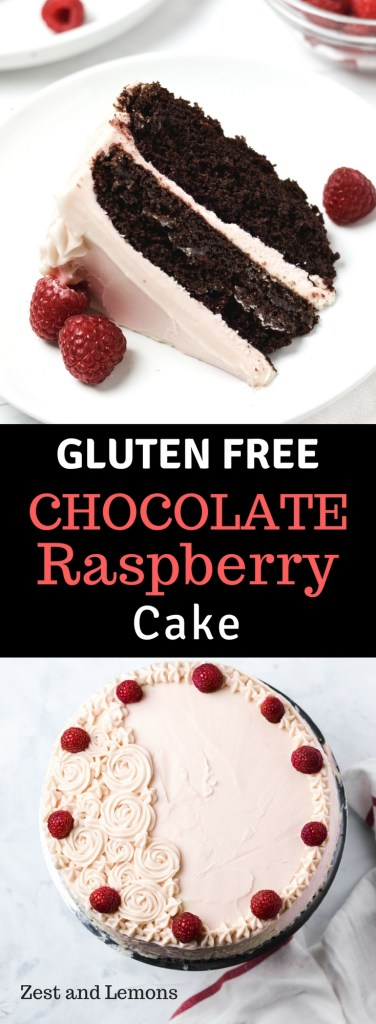 Gluten free chocolate raspberry cake. Moist, dense, fudgy, and extra chocolatey cake covered in a raspberry cream cheese frosting - Zest and Lemons #glutenfree #chocolatecake #glutenfreedessert