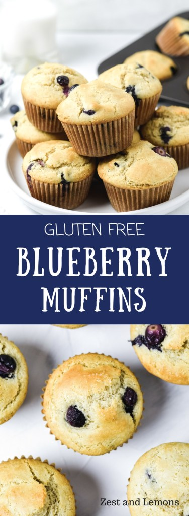 Gluten free blueberry muffins! Light and fluffy, these muffins are perfect for snacking or part of your breakfast - Zest and Lemons #glutenfree #blueberrymuffins #glutenfreemuffins #breakfast