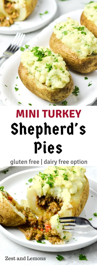 Mini turkey shepherd's pies! Gluten free & family-friendly - Zest and Lemons #glutenfree #kidfriendly #familyfriendly #comfortfood