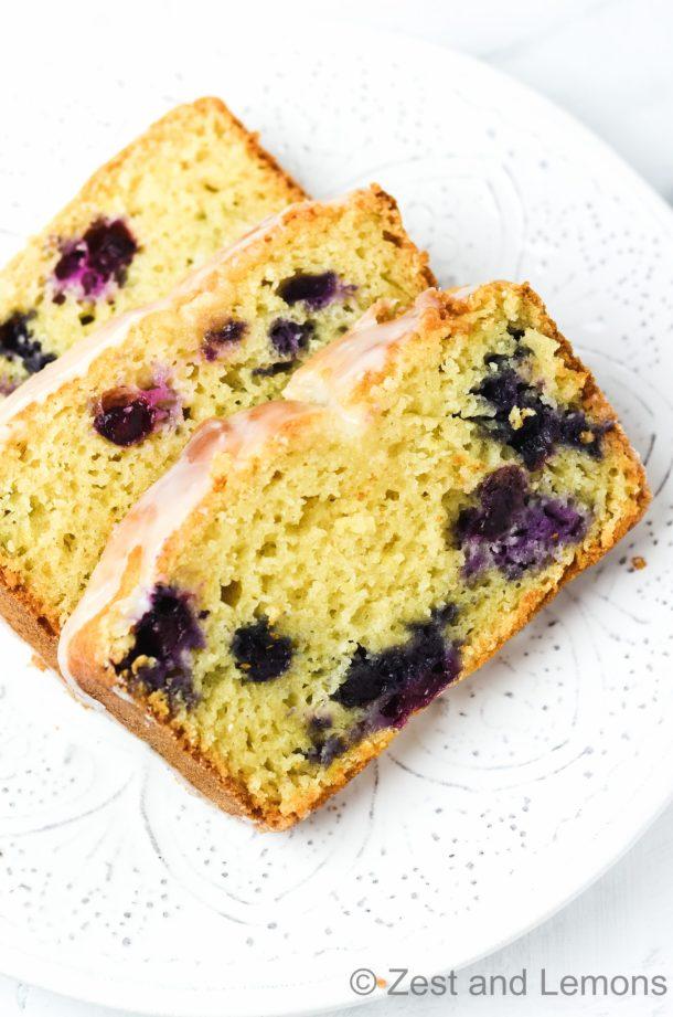 Gluten free lemon blueberry bread - Zest and Lemons