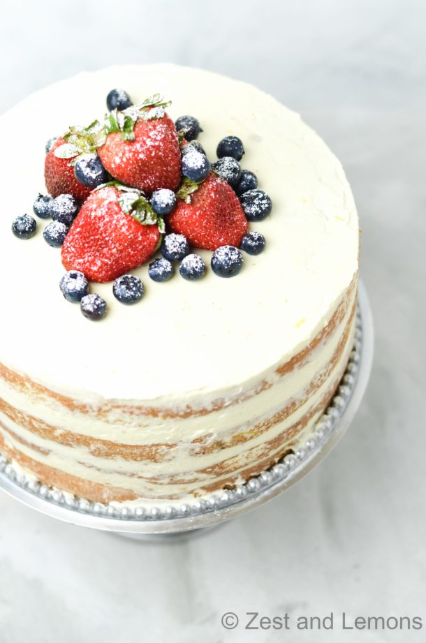 Gluten Free Strawberry-Citrus Naked Cake - Zest and Lemons