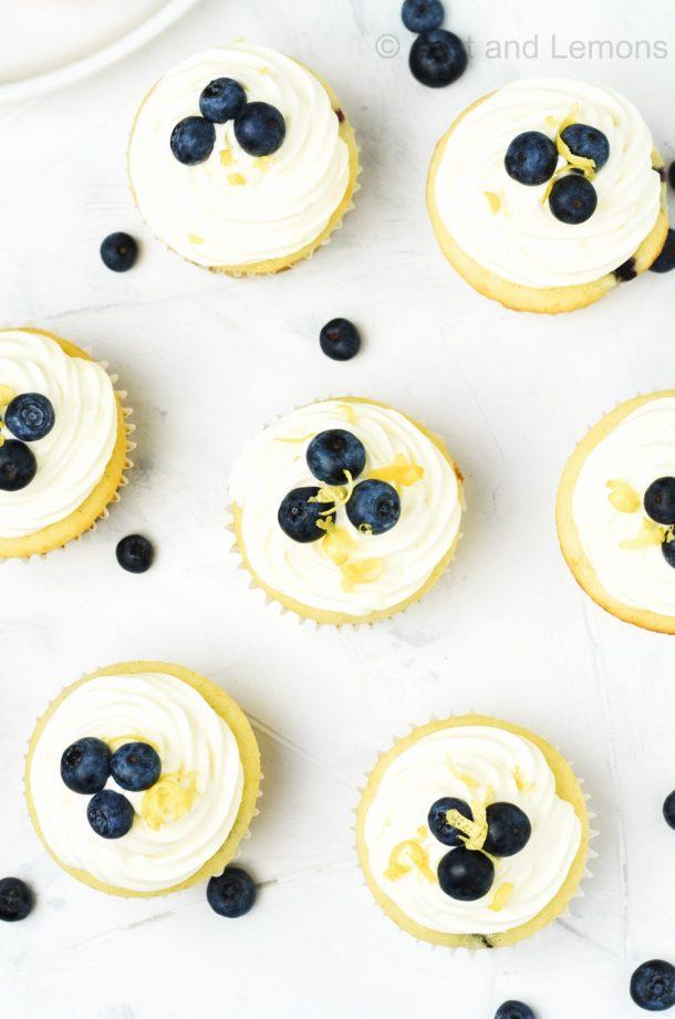 Gluten Free Lemon Blueberry Cupcakes - Zest and Lemons