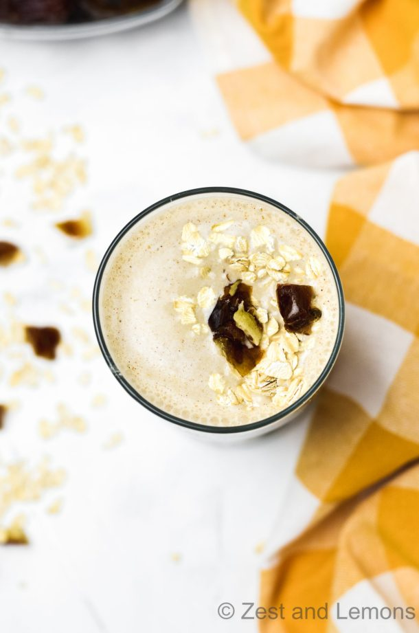 Sun Butter Oatmeal Date Smoothie - Zest and Lemons