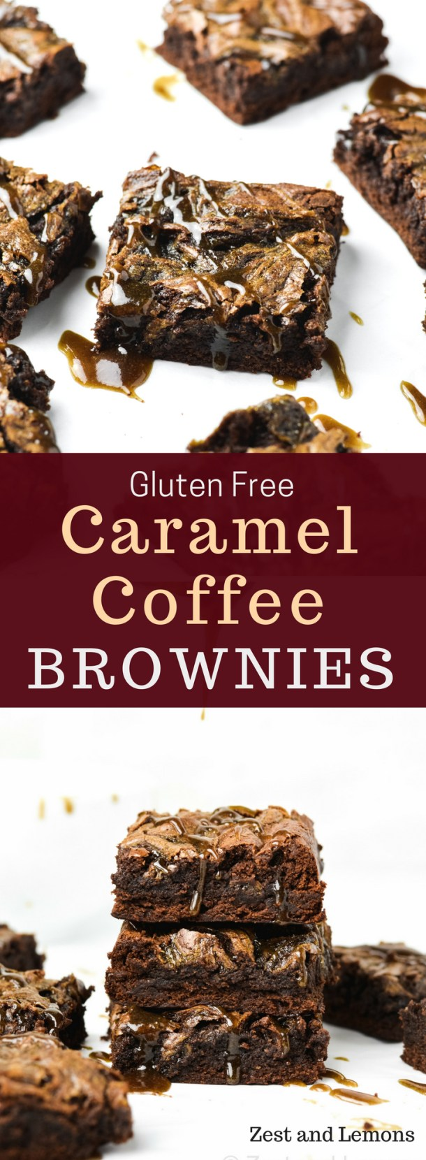 Caramel coffee gluten free brownies. Made with homemade coffee caramel that's swirled into these fudgy chocolate brownies - Zest and Lemons #glutenfree #caramelbrownies