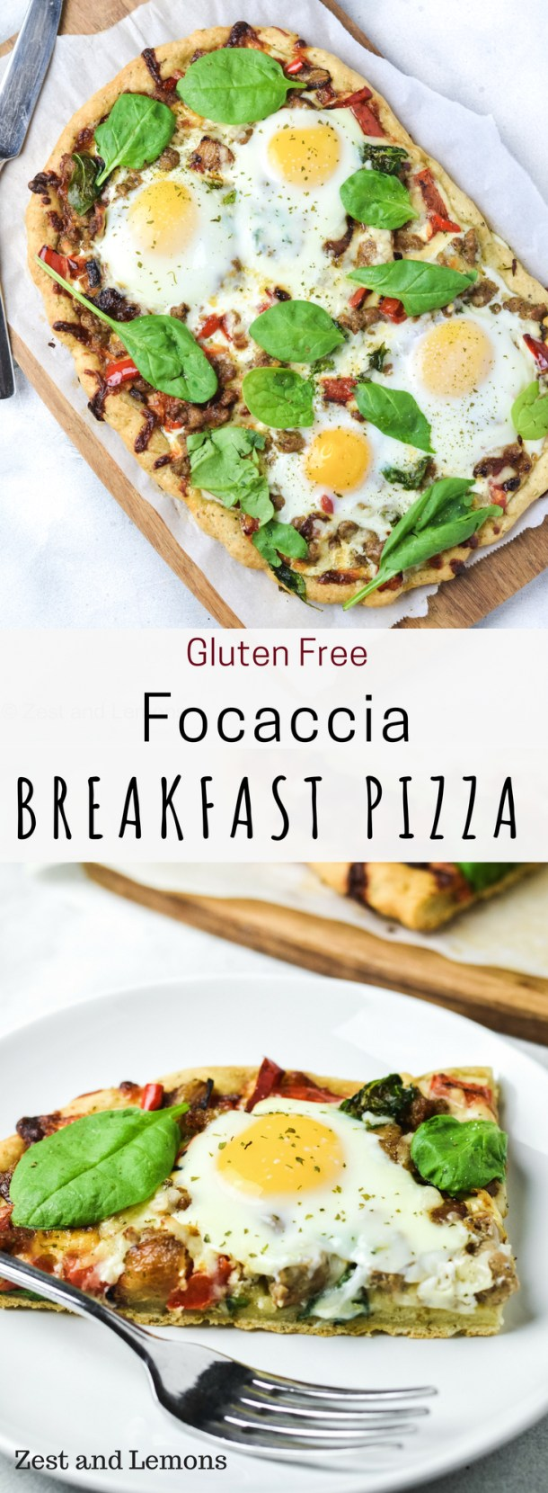 Gluten Free Focaccia Breakfast Pizza. Perfect for a hearty breakfast or brunch! - Zest and Lemons #glutenfreebreakfast #breakfast #breakfastpizza