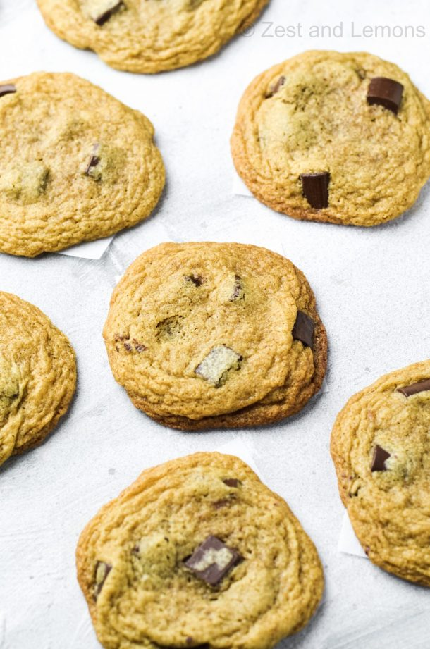 Thin and Chewy Tahini Chocolate Chip Cookies, gluten free - Zest and Lemons