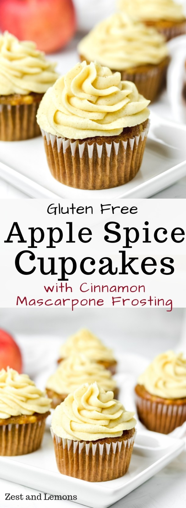 Gluten free apple spice cupcakes with cinnamon mascarpone frosting - Zest and Lemons #glutenfree #glutenfreecupcakes #applecake #glutenfreedesserts