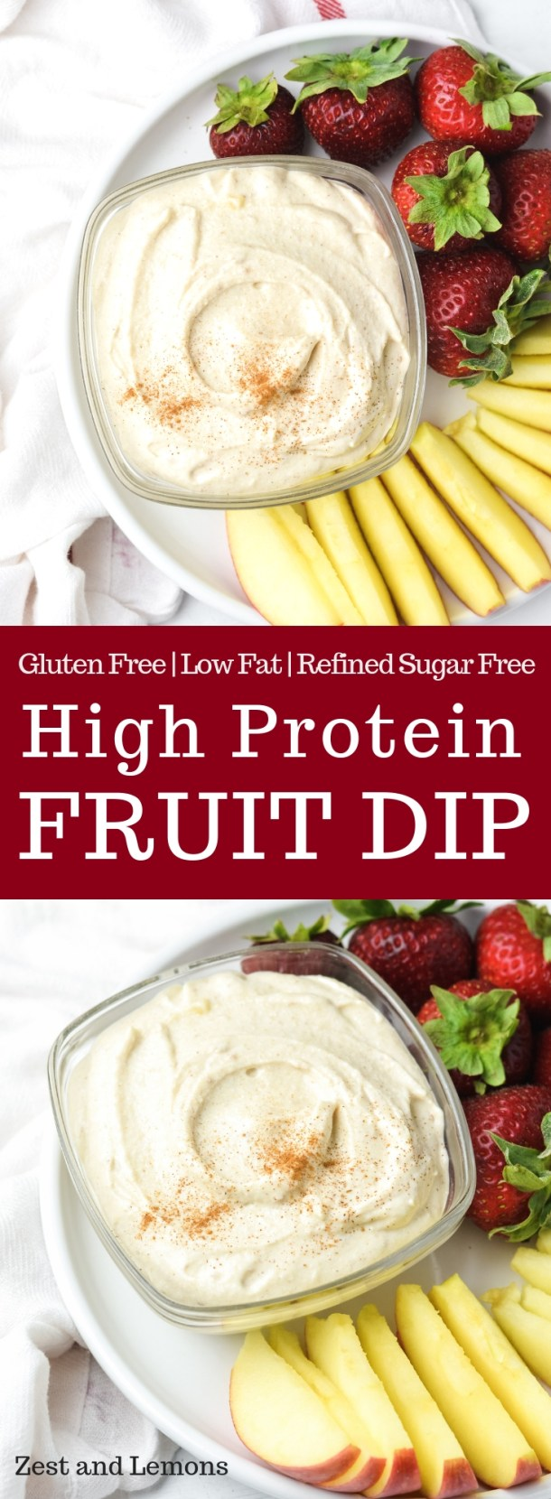 Healthier high protein fruit dip made from cottage cheese - Zest and Lemons #glutenfree #snackdip #dessertdip