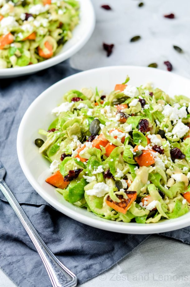 Fall shredded Brussels sprout salads - Zest and Lemons