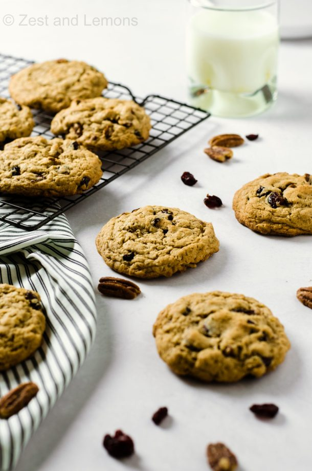Thick and Chewy Gluten Free Cranberry Oatmeal Cookies - Zest and Lemons