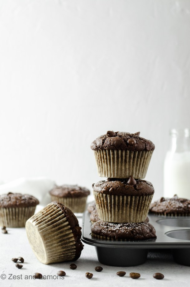 Gluten free double chocolate espresso muffins - Zest and Lemons