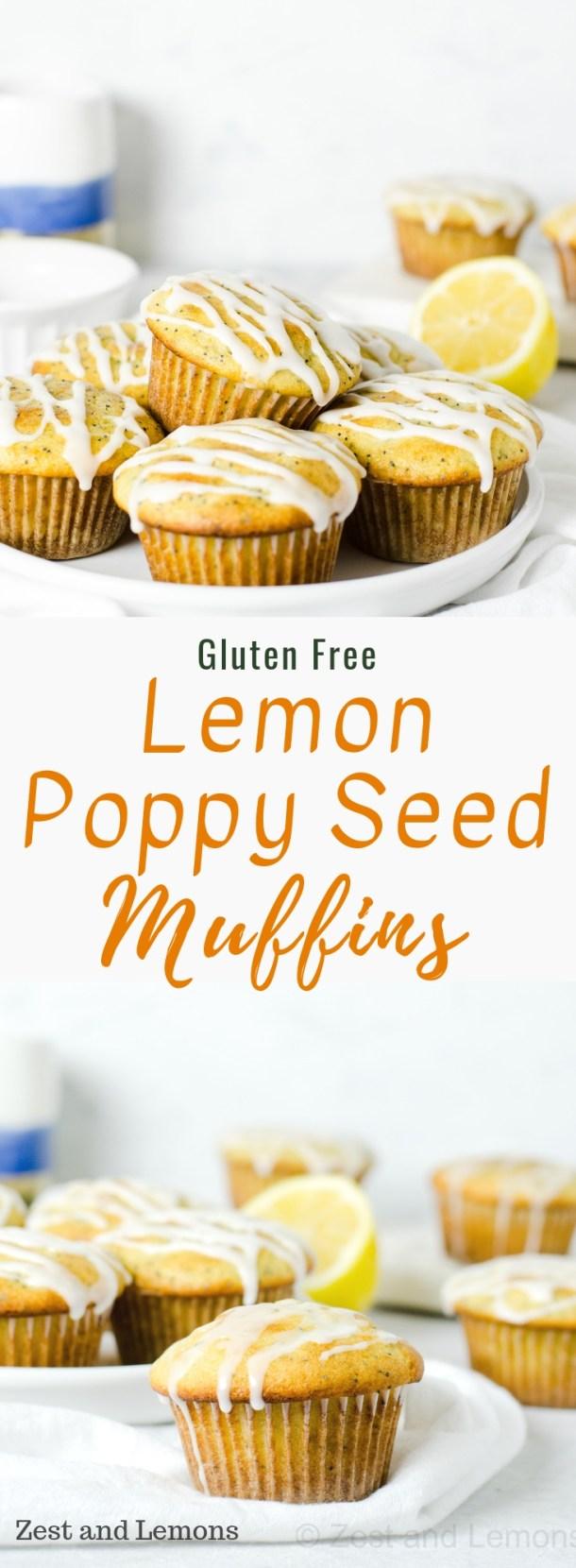 Gluten free lemon poppy seed muffins. Tender and moist lemon poppy seed muffins topped with a tart lemon glaze - Zest and Lemons #glutenfree #lemonpoppyseed