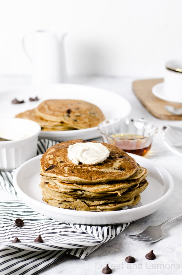 Espresso Chip Gluten Free Pancakes - Zest and Lemons
