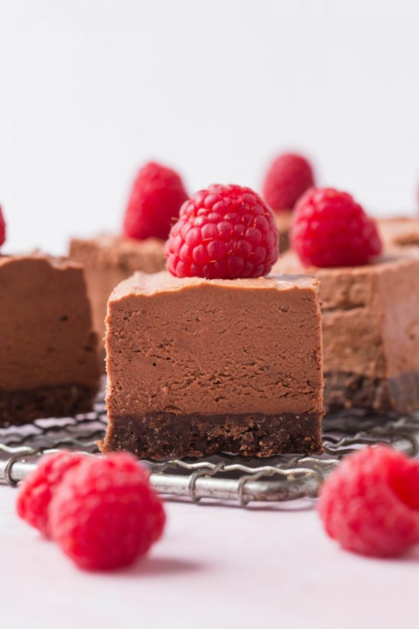 No Bake Chocolate Cheesecake Bars by Minneceliac