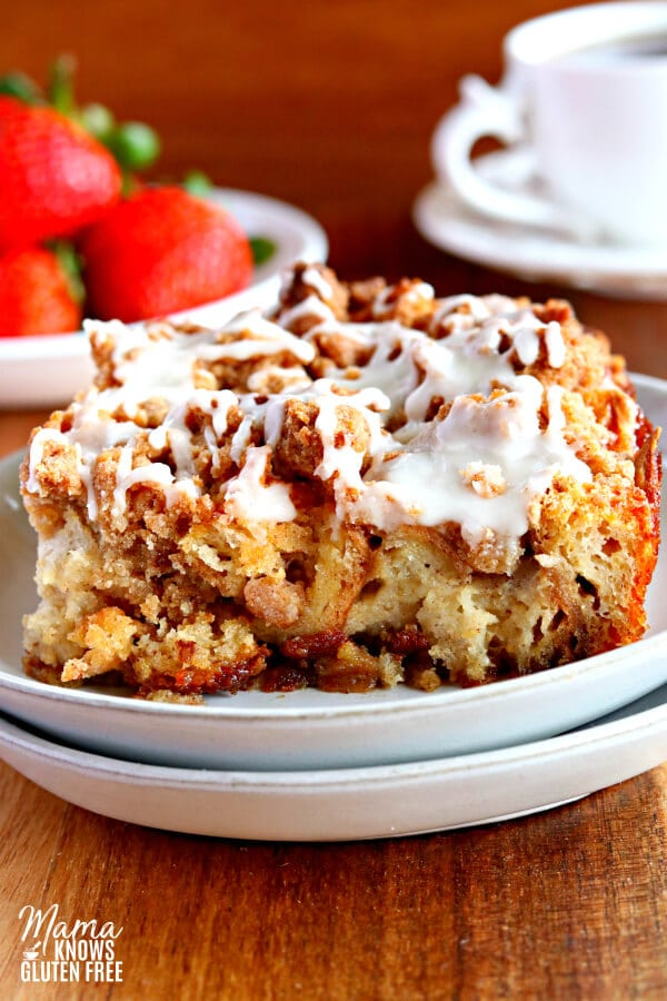Gluten free cinnamon roll french toast casserole by Mama Knows Gluten Free