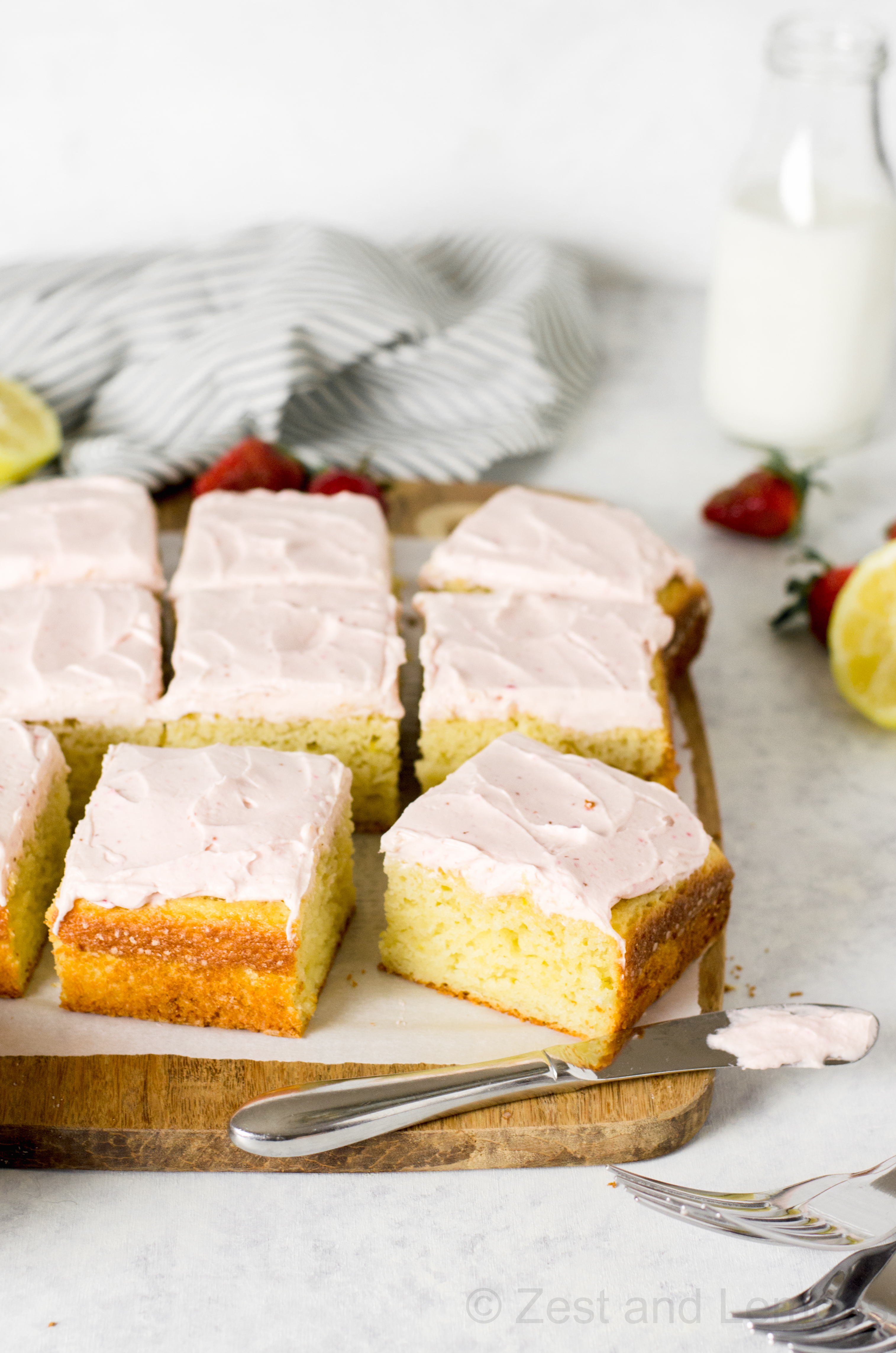 Gluten Free Lemon Cake With Strawberry Cream Cheese Frosting Zest And Lemons